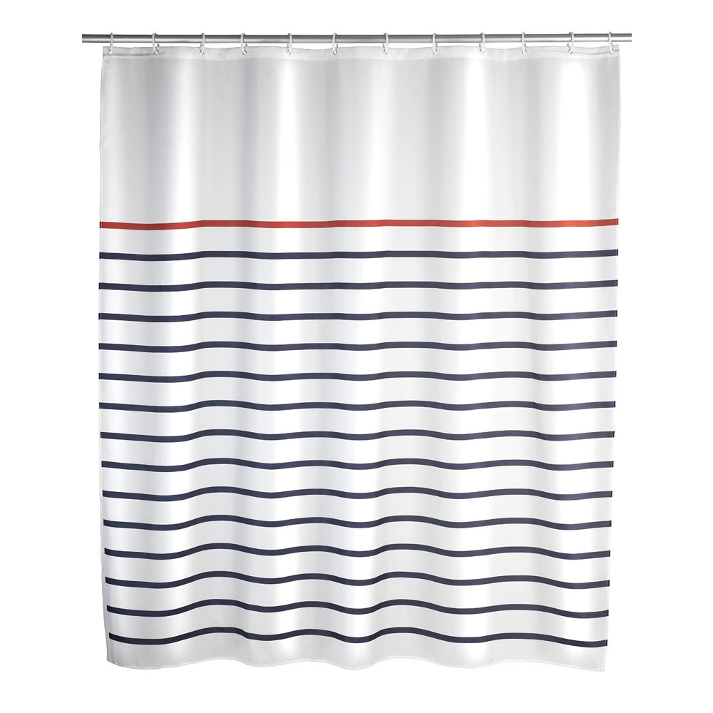 Wenko Marine Polyester Shower Curtain - W1800 x H2000 - White - 20964100 Large Image