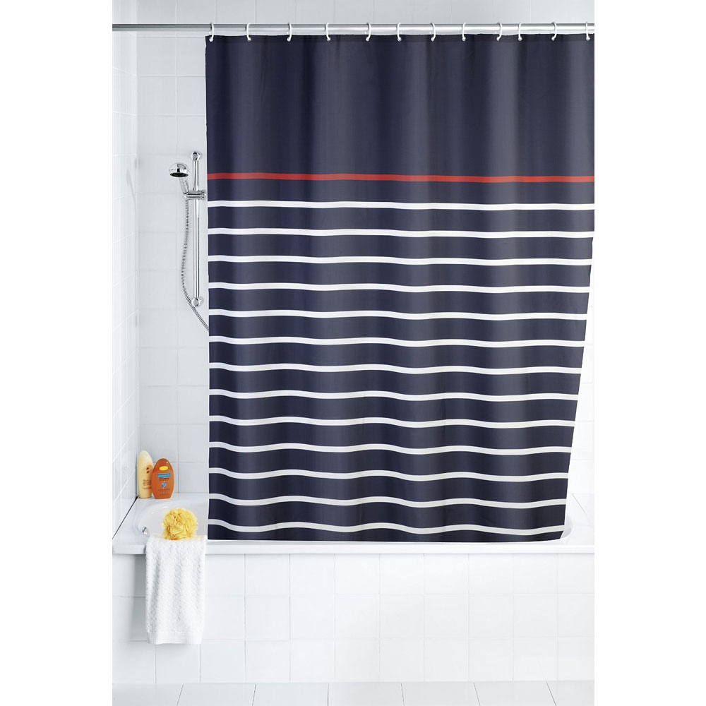 Wenko Marine Polyester Shower Curtain - W1800 x H2000 - Blue - 20965100 profile large image view 2