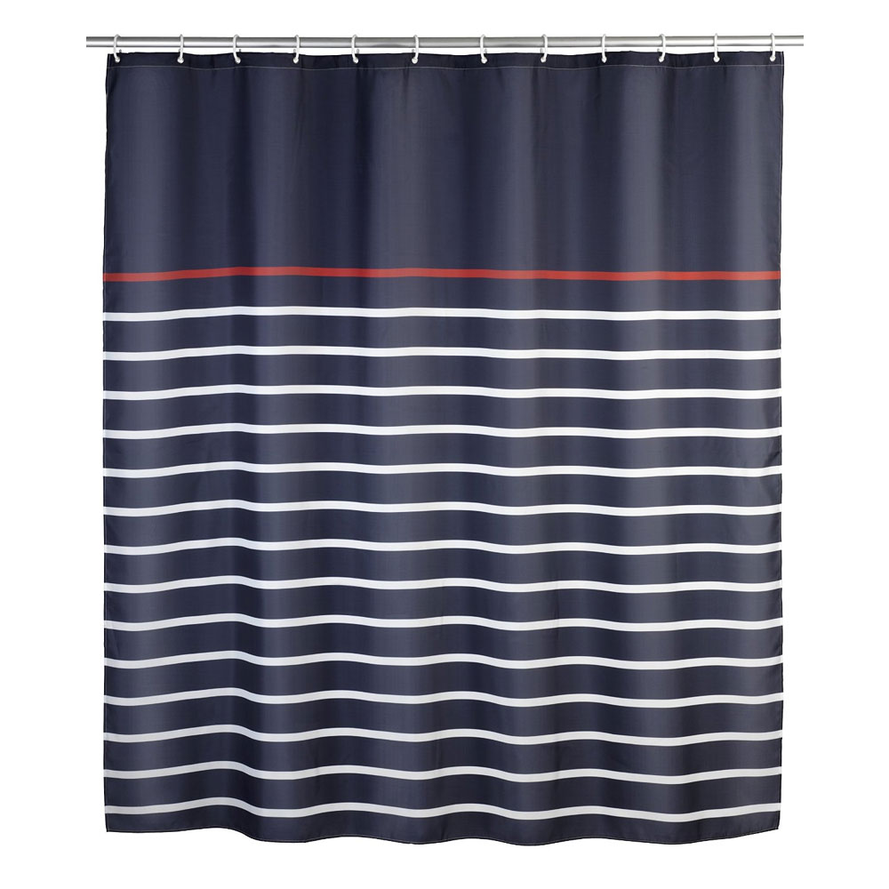 Wenko Marine Polyester Shower Curtain - W1800 x H2000 - Blue - 20965100 profile large image view 1