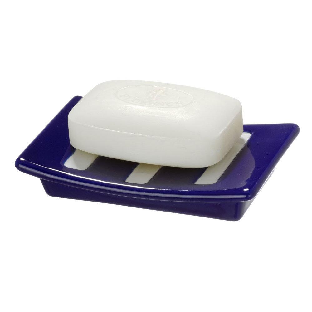 Wenko Marine Ceramic Soap Dish - Blue - 21056100 profile large image view 2