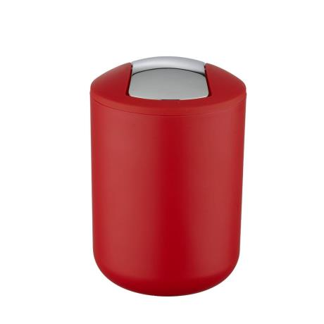 Wenko brasil red swing cover bin from victorian plumbing for Red bathroom bin
