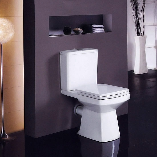 New Zeto Square Close Coupled Modern Toilet With Soft Close Seat At Victorian