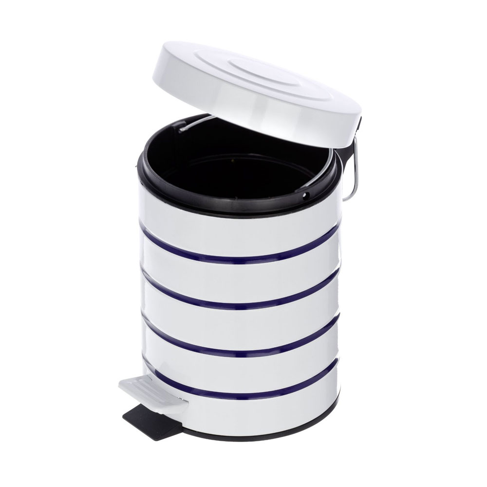 Wenko Marine 3 Litre Cosmetic Pedal Bin - White - 21351100 In Bathroom Large Image