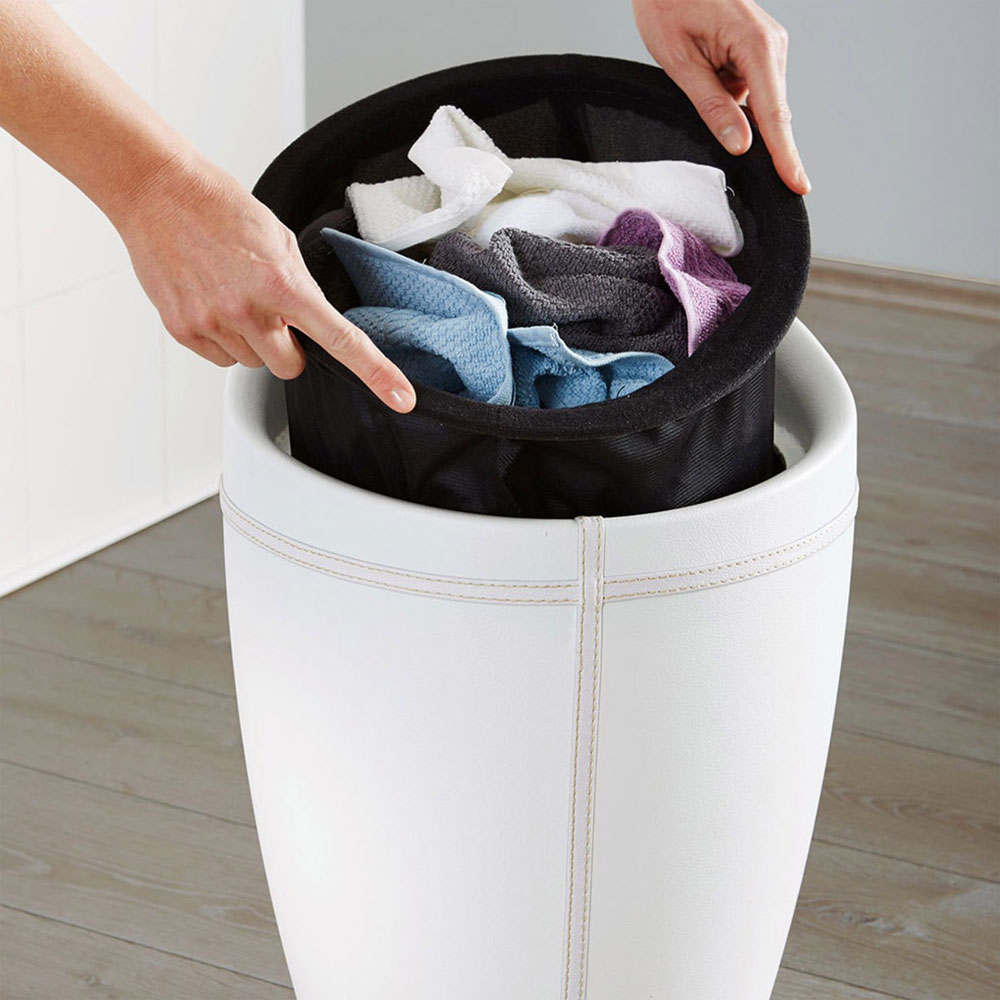 Wenko - Candy Leather Look Laundry Bin & Bathroom Stool - White - 21773100 Standard Large Image