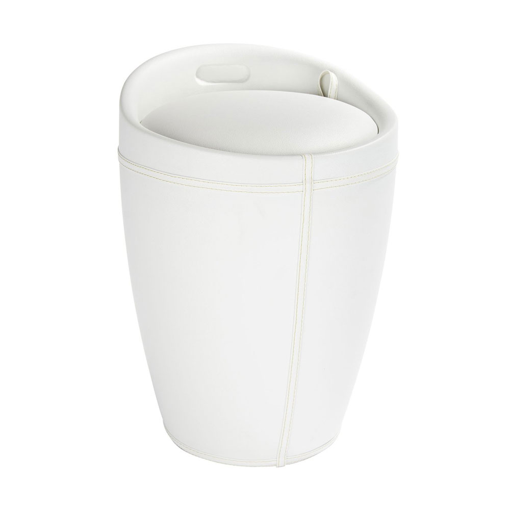 Wenko - Candy Leather Look Laundry Bin & Bathroom Stool - White - 21773100 Large Image