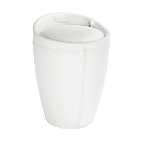 Wenko - Candy Leather Look Laundry Bin & Bathroom Stool - White - 21773100