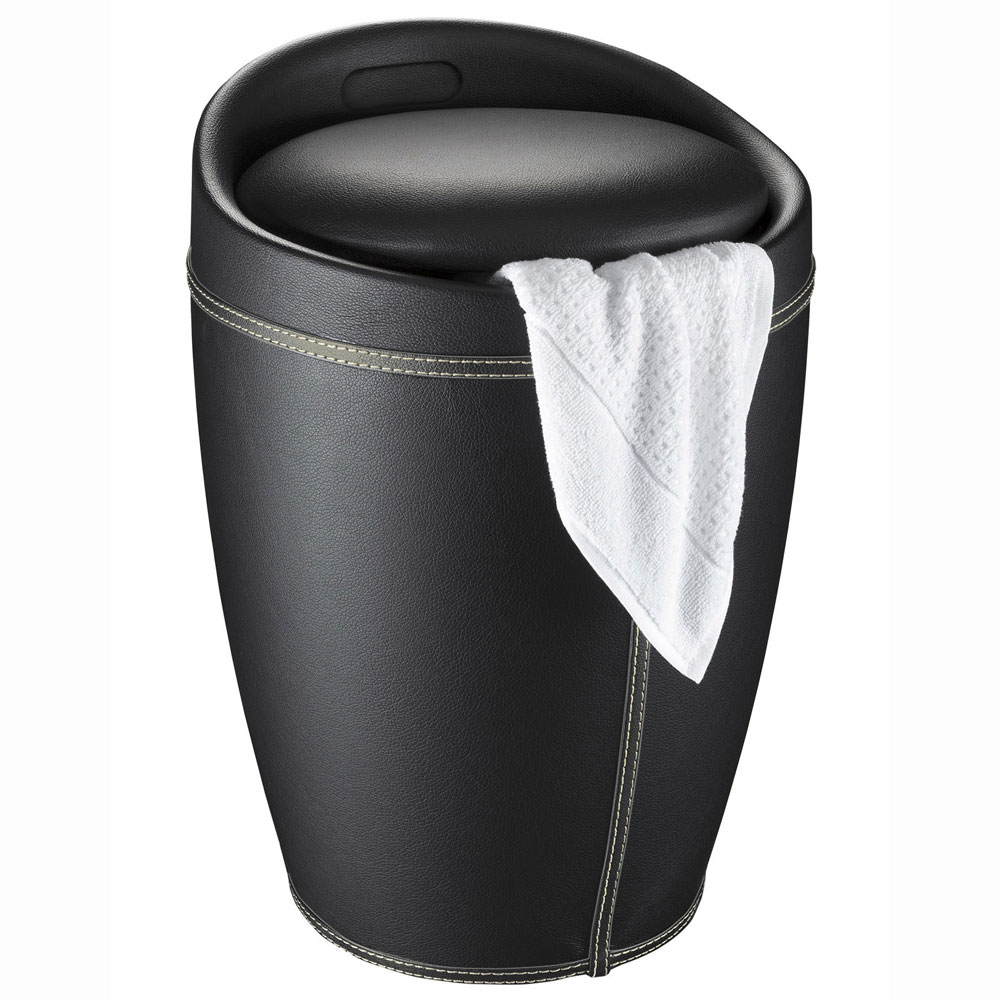 Wenko - Candy Leather Look Laundry Bin & Bathroom Stool - Black - 21774100 Profile Large Image