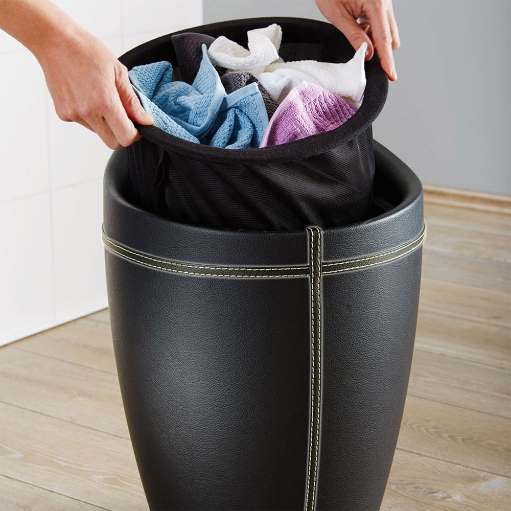 Wenko - Candy Leather Look Laundry Bin & Bathroom Stool - Black - 21774100 Standard Large Image