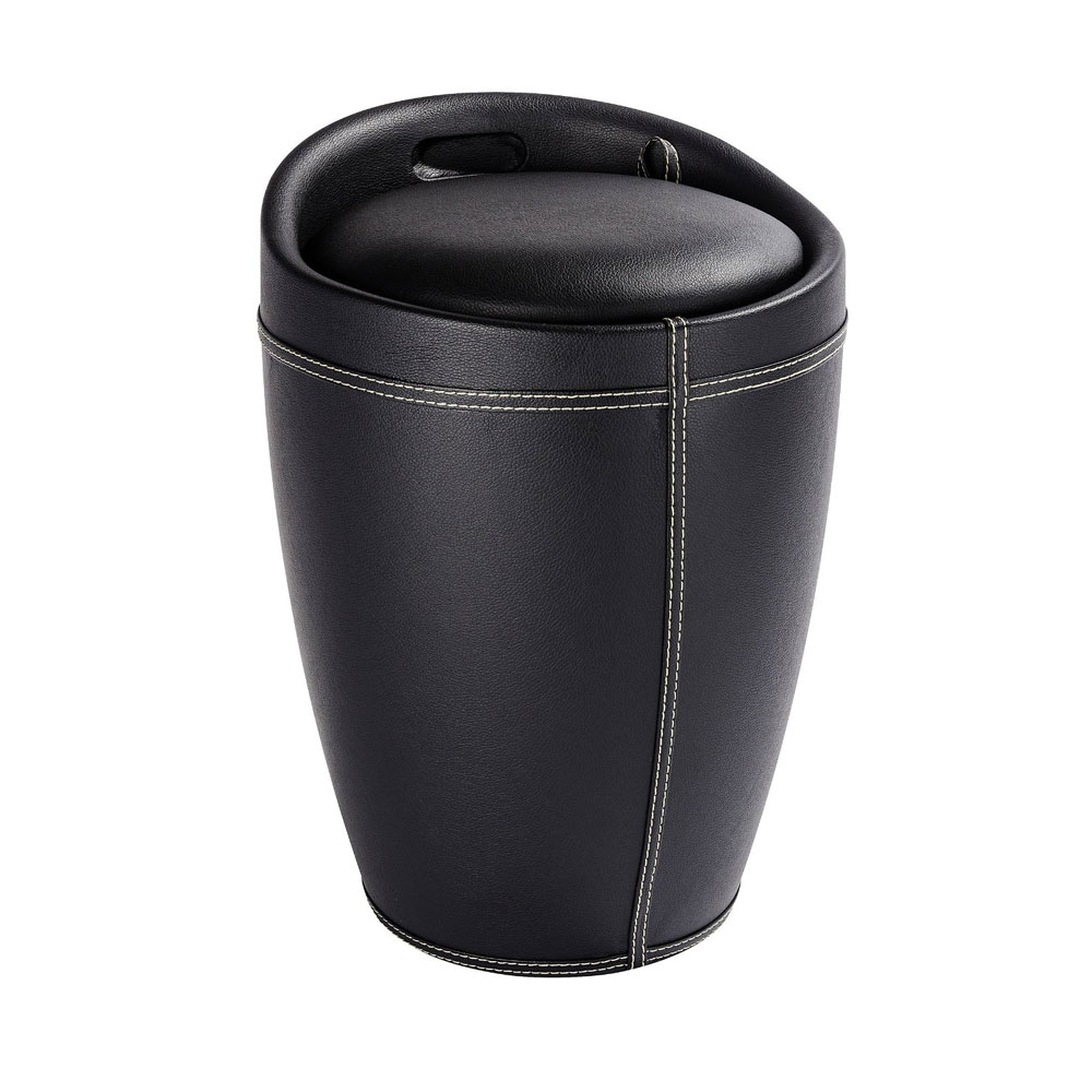Wenko - Candy Leather Look Laundry Bin & Bathroom Stool - Black - 21774100 Large Image