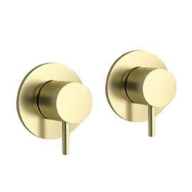 JTP Vos Brushed Brass Wall Mounted Side Valves (Pair)