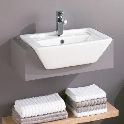 Zeto 550 1TH Semi Recessed Ceramic Basin - 231261