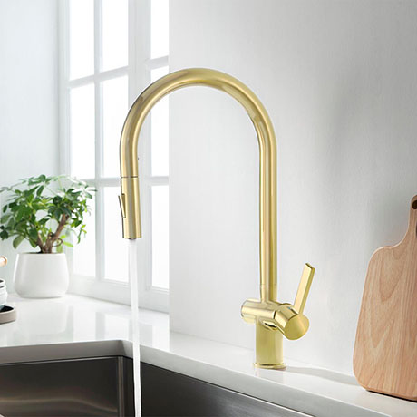 JTP Vos Brushed Brass Single Lever Kitchen Sink Mixer with Pull Out Spray