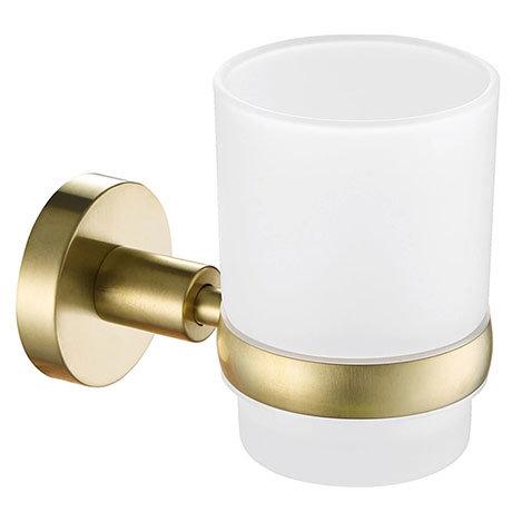 JTP Vos Brushed Brass Tumbler & Holder