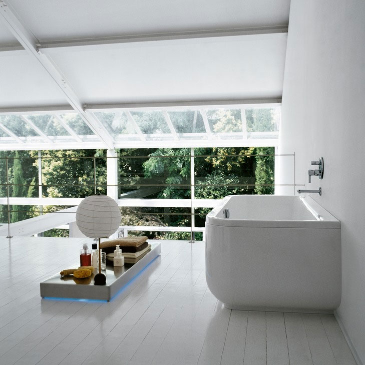 Laufen - Form 1800 x 800mm Back to Wall Bath with Frame and C Panel Feature Large Image