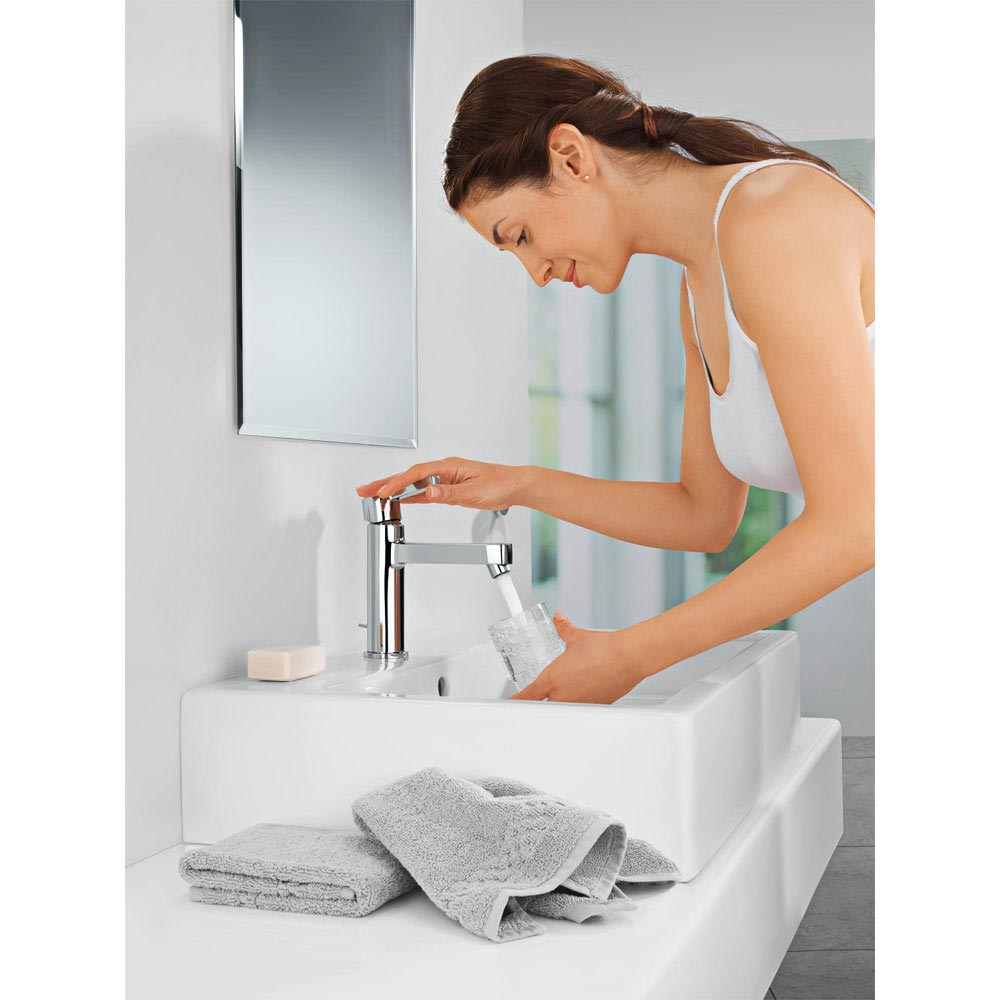 Grohe Lineare Mono Basin Mixer with Pop-up Waste - 23443000 profile large image view 2