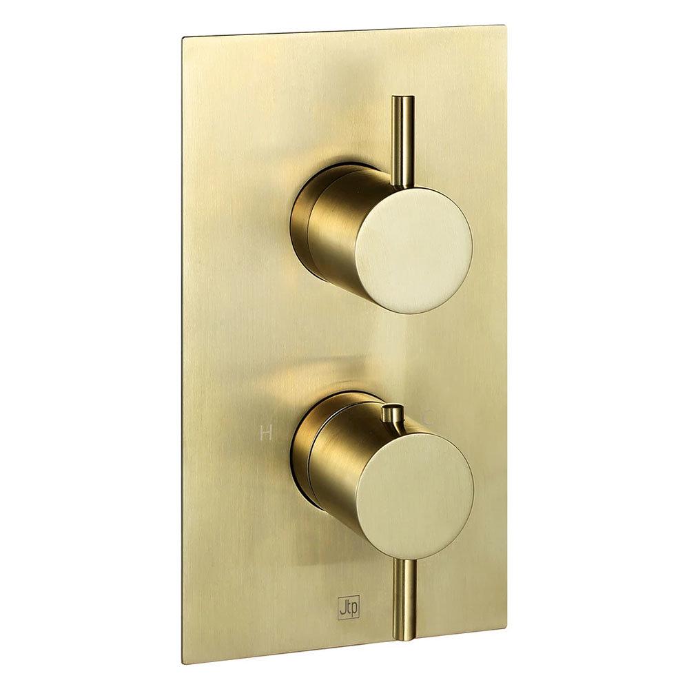 Jtp Vos Brushed Brass Single Outlet Thermostatic Concealed Shower Valve