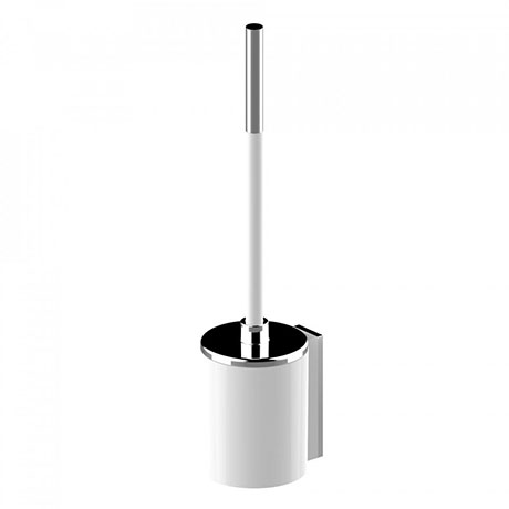 AKW Onyx White Toilet Brush & Holder