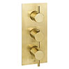 JTP Vos Brushed Brass Triple Outlet Thermostatic Concealed Shower Valve Vertical profile small image view 1