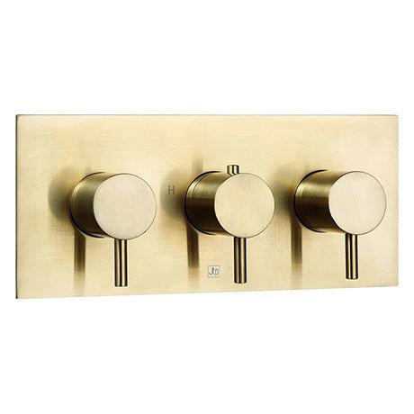 JTP Vos Brushed Brass Triple Outlet Thermostatic Concealed Shower Valve Horizontal