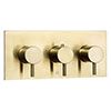 JTP Vos Brushed Brass Triple Outlet Thermostatic Concealed Shower Valve Horizontal profile small image view 1