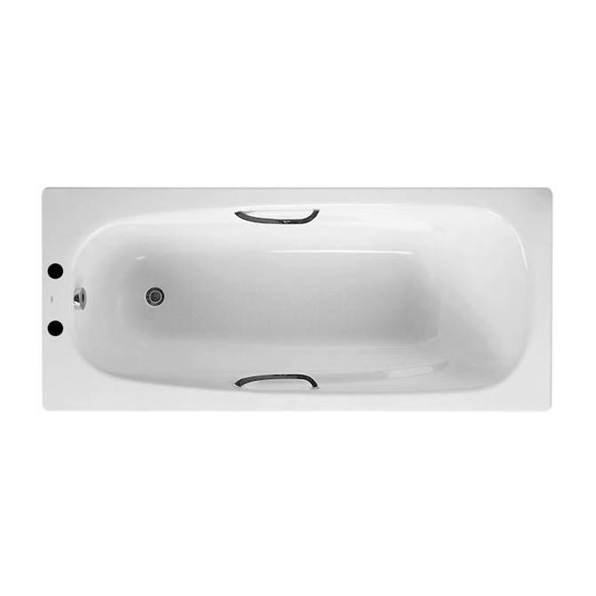 Roca Carla 1700 x 700mm 2TH Steel Enamel Bath with Grips