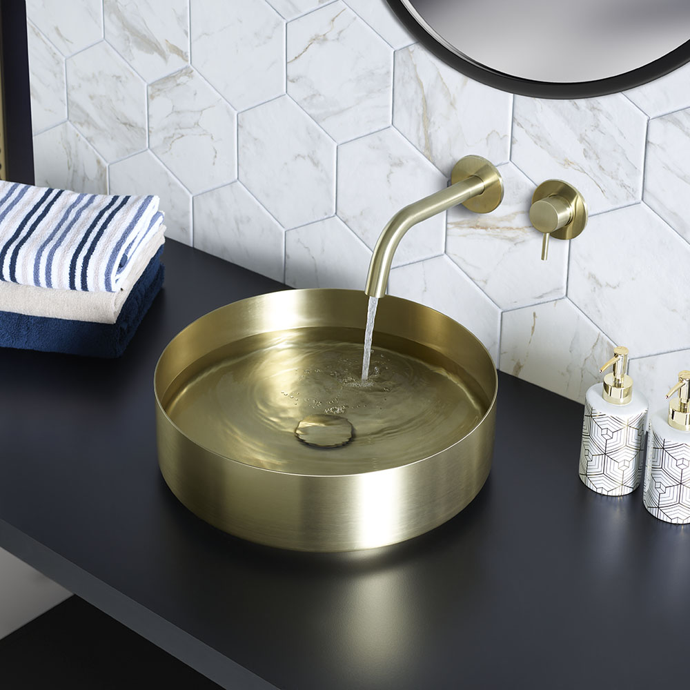 JTP Vos Brushed Brass Round Stainless Steel Counter Top Basin + Waste