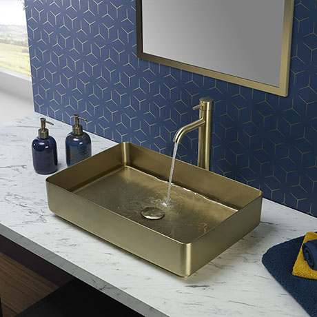 JTP Vos Brushed Brass Rectangular Stainless Steel Counter Top Basin + Waste