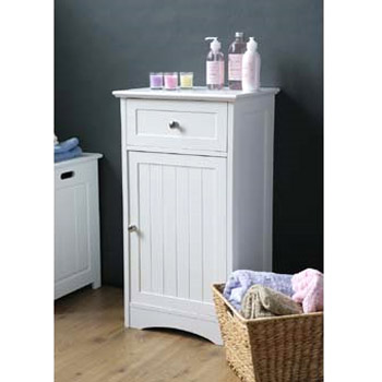 White Wood Floor Standing Storage Cupboard with Top Drawer - 2400944 Profile Large Image