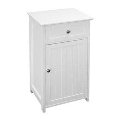 White Wood Floor Standing Storage Cupboard with Top Drawer - 2400944 Large Image