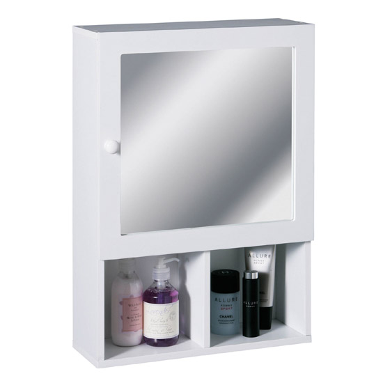 White Wood Wall Cabinet with 2 Compartments and Mirrored Door - 2401408 Large Image