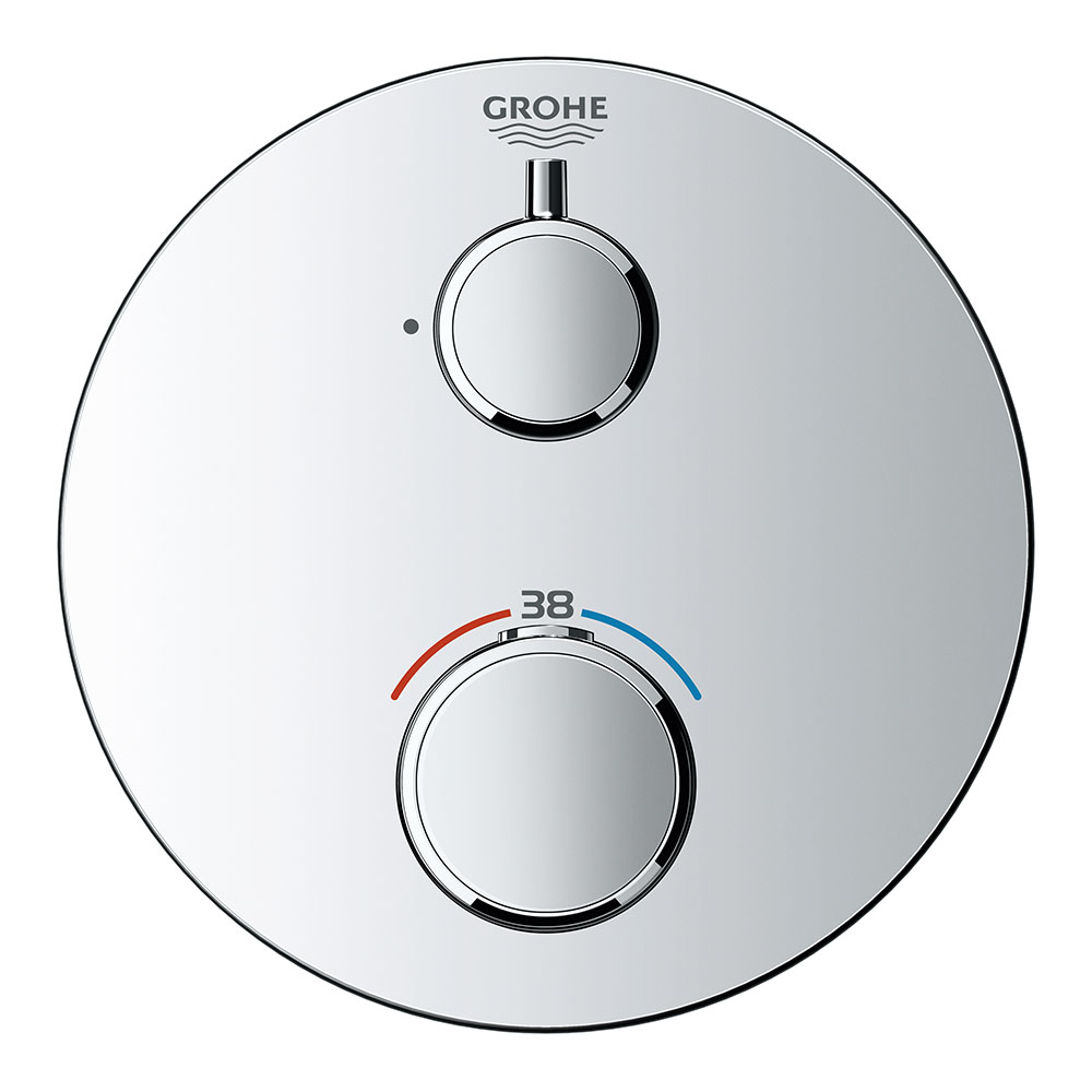 Grohe Grohtherm 1-Outlet Thermostatic Shower Mixer Trim with Shut-Off Valve - 24075000