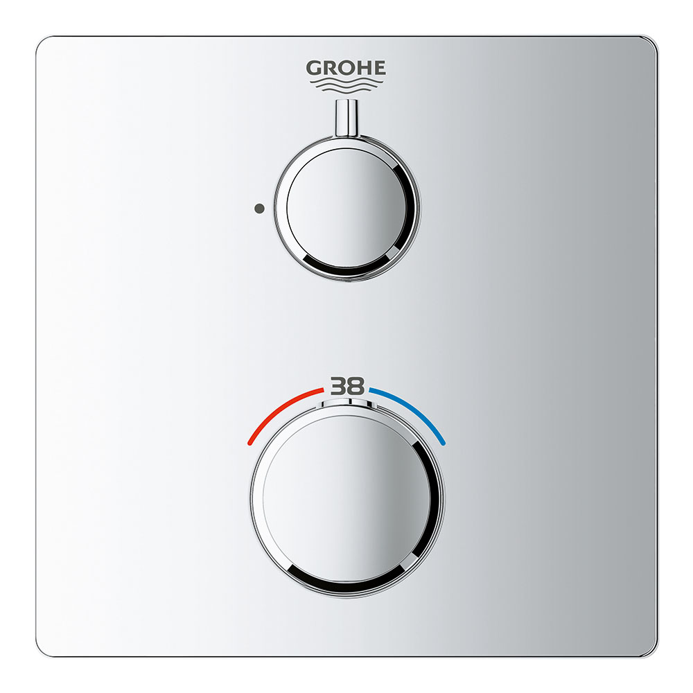 Grohe Grohtherm 1-Outlet Thermostatic Shower Mixer Trim with Shut-Off Valve - 24078000