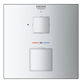 Grohe Grohtherm Cube 1-Outlet Thermostatic Shower Mixer Trim with Shut-Off Valve - 24153000