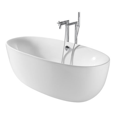 Roca Virginia Acrylic Freestanding Bath with Waste & Overflow (1700 x 800mm) profile large image view 2