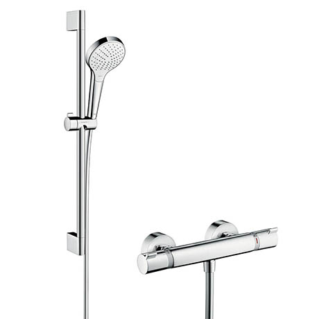 Hansgrohe Croma Select S Vario Thermostatic Shower System with 65cm Shower Slider Rail Kit - 2701340