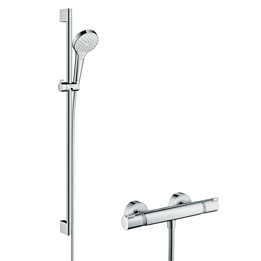 hansgrohe Croma Select S Vario Thermostatic Shower System with 90cm Shower Slider Rail Kit - 27014400