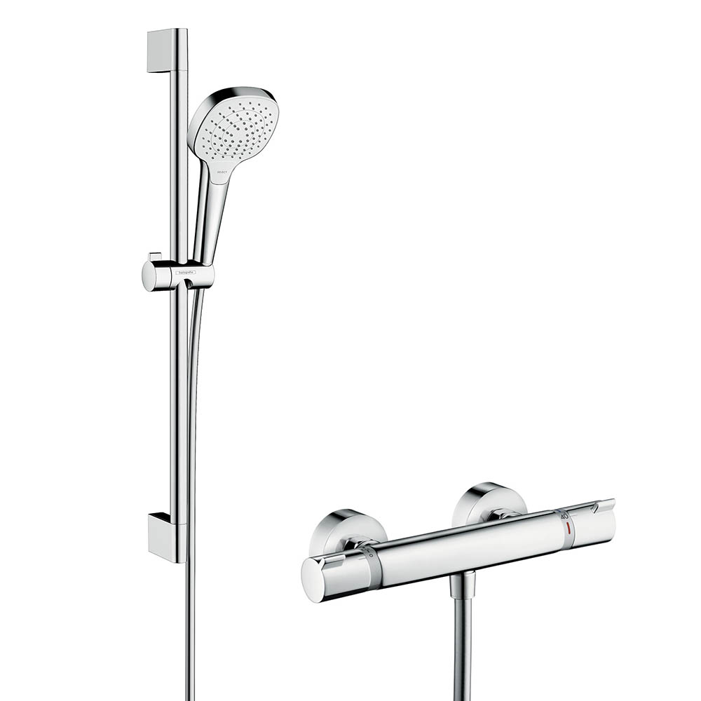 hansgrohe Croma Select E Vario Thermostatic Shower System with 65cm Shower Slider Rail Kit - 27081400