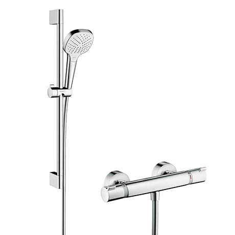 Hansgrohe Croma Select E Vario Thermostatic Shower System with 65cm Shower Slider Rail Kit - 2708140
