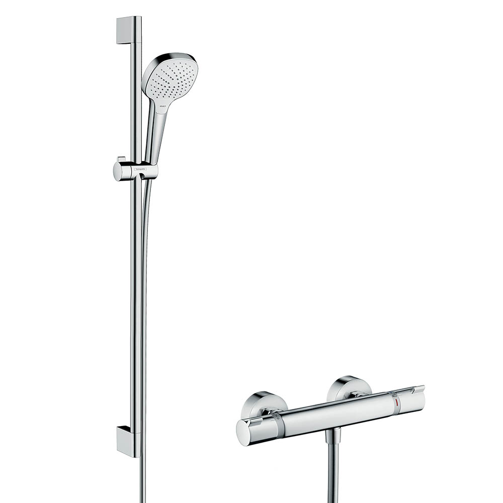 hansgrohe Croma Select E Vario Thermostatic Shower System with 90cm Shower Slider Rail Kit - 27082400