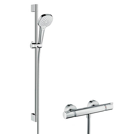 Hansgrohe Croma Select E Vario Thermostatic Shower System with 90cm Shower Slider Rail Kit - 2708240
