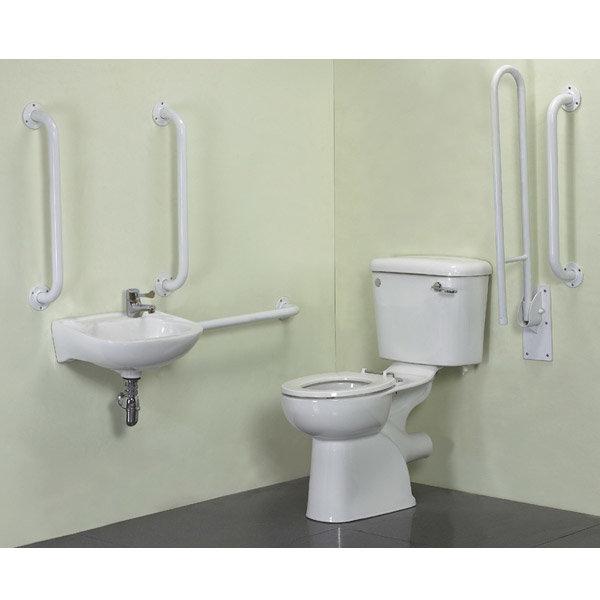 Cove Complete Bathroom Suite: Close Coupled Doc M Complete Bathroom Suite With Support