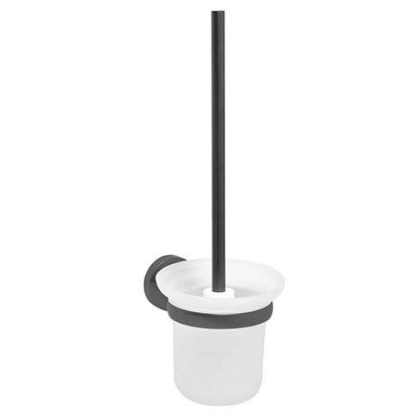 JTP Vos Brushed Black Toilet Brush & Holder