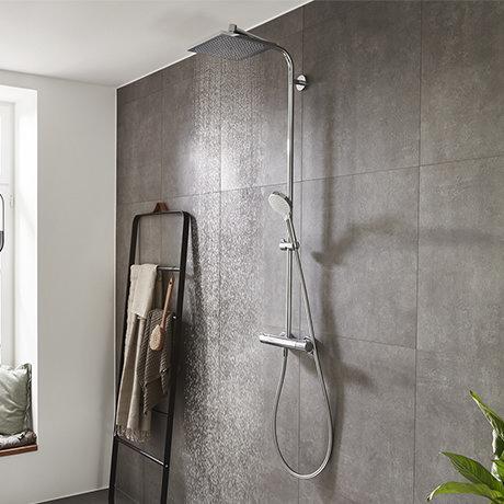 hansgrohe Crometta E Showerpipe 240 Thermostatic Shower Mixer - 27271000