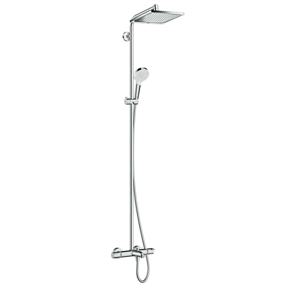 hansgrohe Crometta E Showerpipe 240 1 Jet with Thermostatic Bath Mixer - 27298000