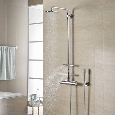 grohe rainshower system 210 thermostatic shower system with body jets 27374000. Black Bedroom Furniture Sets. Home Design Ideas