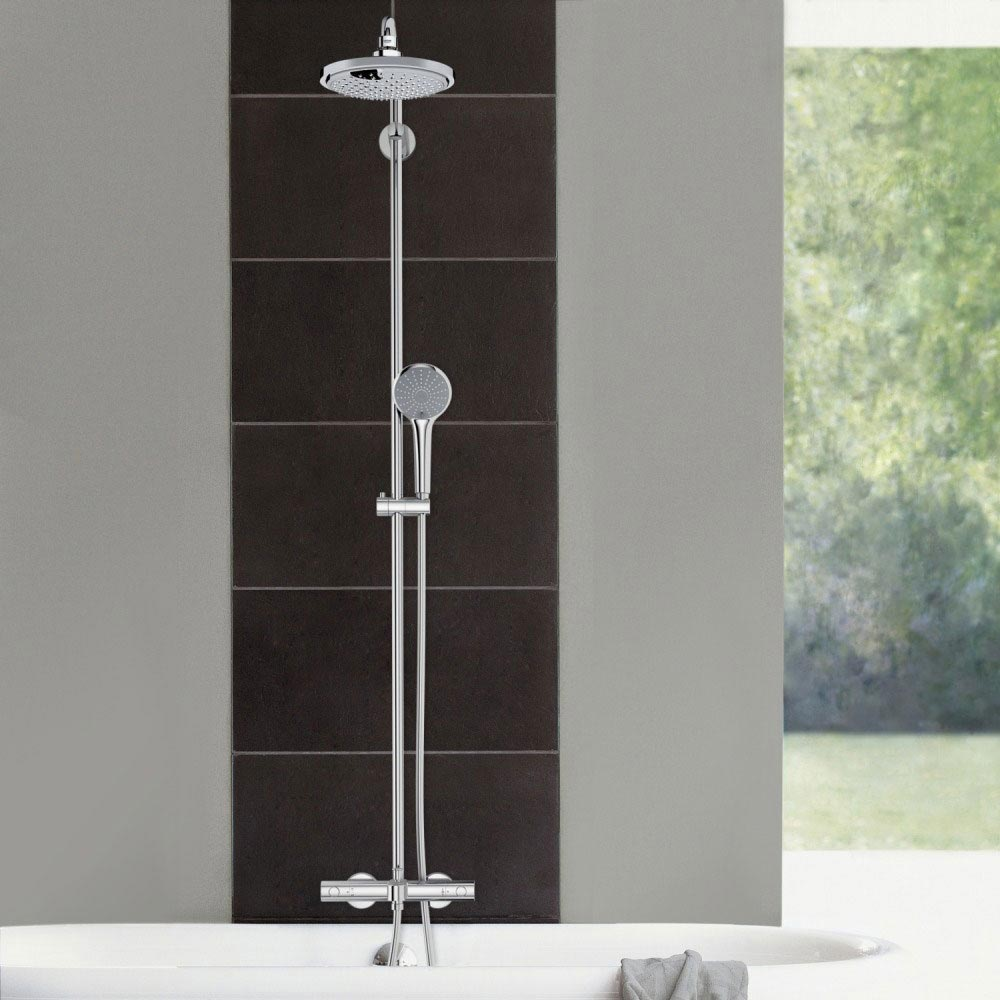 Grohe Euphoria 180 Shower System Thermostatic Bath Mixer and Kit - 27475000 Profile Large Image