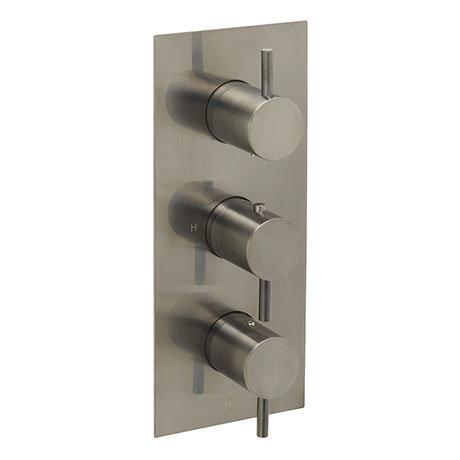 JTP Vos Brushed Black Twin Outlet Thermostatic Concealed Shower Valve Vertical