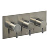 JTP Vos Brushed Black Triple Outlet Thermostatic Concealed Shower Valve Horizontal profile small image view 1