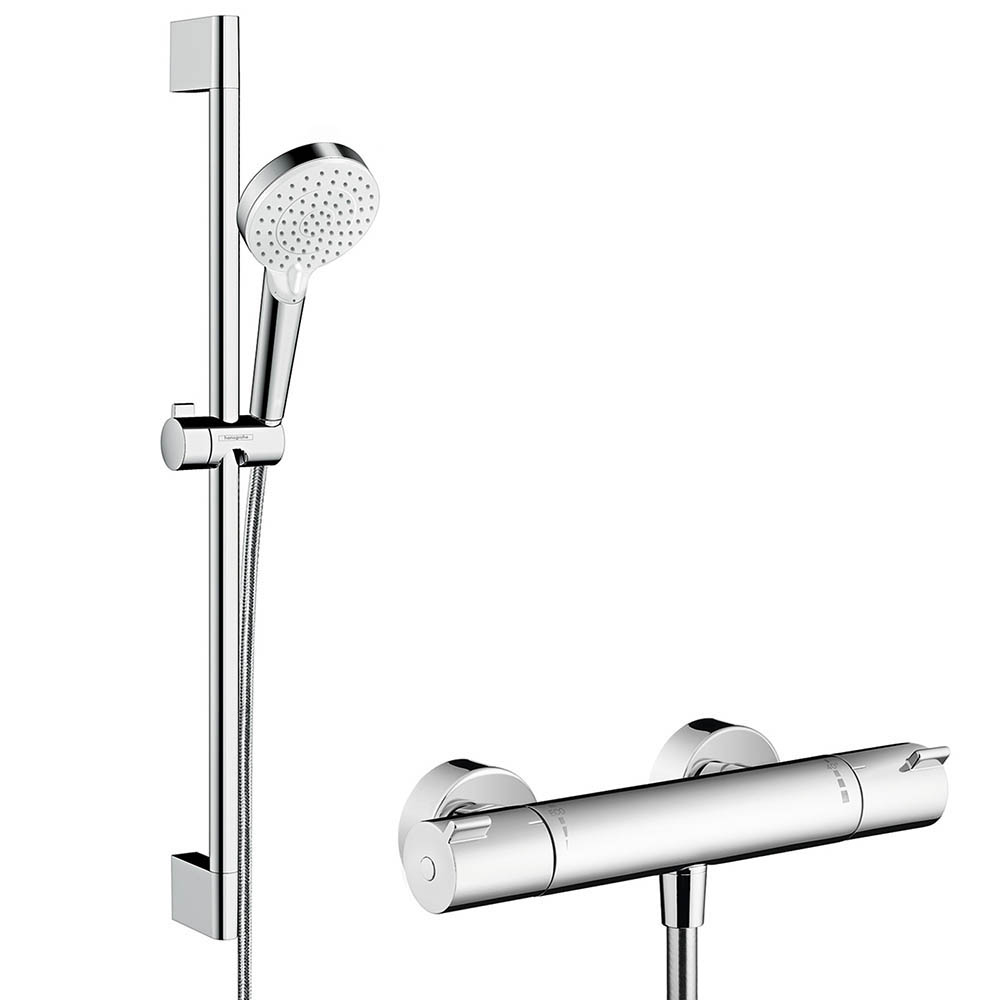 hansgrohe Crometta Vario Thermostatic Shower System with 65cm Shower Slider Rail Kit