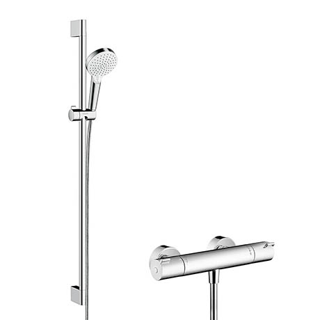 Hansgrohe Crometta Vario Thermostatic Shower System with 90cm Shower Slider Rail Kit - 27813400
